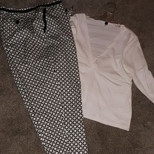 Talbots Black & White stretch pants w/top 18